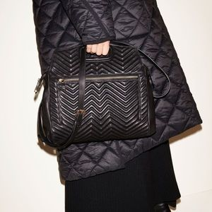Maje Black Leather Quilted Zig Zag Bag Tote NWT